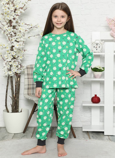 Akbeniz Çocuk Pamuk Uzun Kollu Pijama Takımı 4546 Yeşil